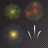 Colorful fireworks vector. On transparent background Stock Photo