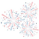 Colorful fireworks wallpaper. Big red and blue fireworks isolated  on white background for holiday or party wallpaper Stock Images