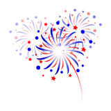 Colorful fireworks on white background.  Stock Photo