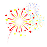 Colorful fireworks on white background.  Stock Image