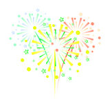Colorful fireworks on white background.  Stock Images