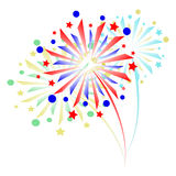 Colorful fireworks on white background.  Royalty Free Stock Image