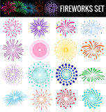 Colorful Fireworks on white background for party cerebation Royalty Free Stock Photography