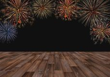 Colorful fireworks with wood panel, Fireworks for background royalty free stock photo