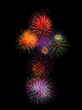 Colorful fireworksalphabet t-  beautiful colorful firework iso Stock Images