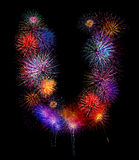 Colorful fireworksalphabet U-  beautiful colorful firework iso Royalty Free Stock Image