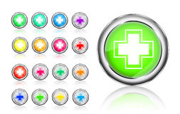Colorful first aid and  help buttons. Colorful first aid and help round icons isolated on white background Royalty Free Stock Images