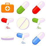 Colorful first aid kit content 9 element set. Colorful cartoon first aid kit content 9 element set isolated on white background. Healthcare themed vector Stock Images