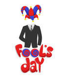 Colorful First April Fools Day Concept. With inscription business suit and joker funny hat isolated vector illustration Stock Photo