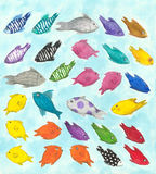 Colorful fish. Mixed technique illustration of colorful fish Stock Photos