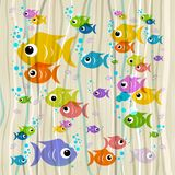 Colorful Fish on Retro Background. Colorful Fish on Abstract Retro Background Royalty Free Stock Images