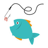 Colorful fish animal marine with fish hook. Vector illustration Stock Image