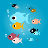 Colorful Fish with Bubbles in Blue Water. Vector Colorful Fish with Bubbles in Blue Water Royalty Free Stock Photography