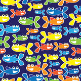 Colorful fish cartoon seamless illustration Royalty Free Stock Photos