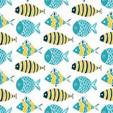 Colorful fish cartoon seamless vector pattern. Creative Hand Drawn texture, marine theme design Stock Photos