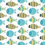 Colorful fish cartoon seamless vector pattern. Creative Hand Drawn texture, marine theme design vector illustration