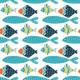 Colorful fish cartoon seamless vector pattern. Creative Hand Drawn texture, marine theme design stock illustration