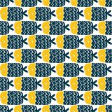 Colorful fish cartoon seamless vector pattern. Creative Hand Drawn texture, marine theme design Royalty Free Stock Image