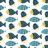 Colorful fish cartoon seamless vector pattern. Creative Hand Drawn texture, marine theme design Stock Image