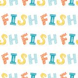 Colorful fish cartoon seamless vector pattern. Creative Hand Drawn texture, marine theme design Royalty Free Stock Photos