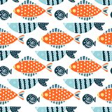 Colorful fish cartoon seamless vector pattern. Creative Hand Drawn texture, marine theme design Stock Photo