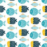 Colorful fish cartoon seamless vector pattern. Creative Hand Drawn texture, marine theme design Royalty Free Stock Photo
