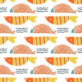 Colorful fish cartoon seamless vector pattern. Creative Hand Drawn texture, marine theme design Stock Images