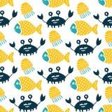 Colorful fish cartoon seamless vector pattern. Creative Hand Drawn texture, marine theme design royalty free illustration
