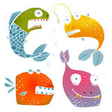 Colorful Fish Characters Cartoon Collection. Fun cartoon  fishes for children design illustrations set. EPS10 vector has no background color Stock Image