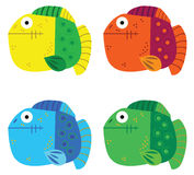 Colorful fish. Four isolated colorful fish on a white background Royalty Free Stock Photography