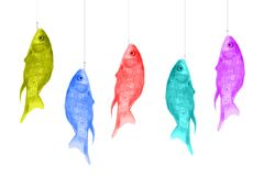 Colorful fish hanging on hooks. Shirts of bright colors on a white background. Pop art design, creative concept. Modern Art vector illustration