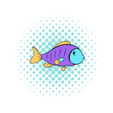 Colorful fish icon, comics style Stock Photography