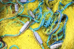 Colorful Fish nets, a fabric with an open mesh resembling a fishing net royalty free stock photography