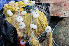 Colorful Fish nets, a fabric with an open mesh resembling a fishing net Stock Photography