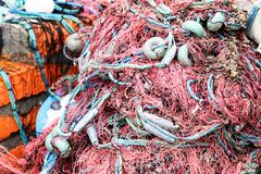 Colorful Fish nets, a fabric with an open mesh resembling a fishing net Stock Image