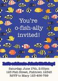 Colorful fish party invitation card template. Vector illustration tropical reef fishes. You are o-fish-ally invited. Fun save the vector illustration