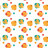 Colorful Fish Seamless Pattern Abstract Ornament. Flat Vector Illustration Stock Image