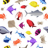 Colorful fish seamless pattern. Ocean fish and crabs. Vector illustration. Colorful fish seamless pattern on white background. Ocean fish and crabs. Vector Stock Photography
