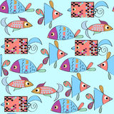 Colorful fish seamless pattern and seamless pattern in swauch me. Nu, vector image Stock Images