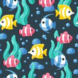 Colorful fish seamless pattern. Marine life background in cartoon style. Hand drawn coral fish on background with bubbles royalty free illustration
