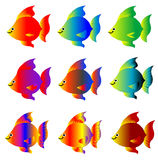 Colorful fish. Set of cartoon fish in different colors and shades isolated in white Royalty Free Stock Photos