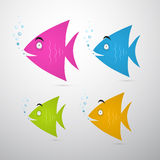 Colorful Fish Set Illustration. With Water Bubbles Isolated on Grey Background Royalty Free Stock Photos