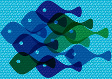 Colorful fish silhouettes. Colorful cartoon illustration of fish silhouettes Royalty Free Stock Photos