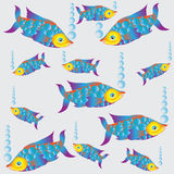 Colorful fish.Stylization. Aquarium. Composition on a light background .. Bright fish coral reef aquariums. Design for textiles, wrapping paper, napkins Stock Images