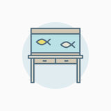 Colorful fish tank on table icon. Vector aquarium sign or design element Royalty Free Stock Images