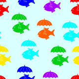 Colorful fish with umbrella pattern Royalty Free Stock Photography
