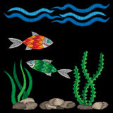 Colorful fish under water embroidery stitches imitation. On the black background. Embroidery fish with wave for logo, label, emblem, sign, poster, t-shirt print Royalty Free Stock Photo