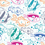 Colorful fish vector seamless pattern background. Vector colorful fish vector seamless pattern background with hand drawn elements Stock Images