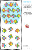 Colorful fish visual logic puzzle. What of the 2 - 10 can not be found on the picture 1? Answer included.n Royalty Free Stock Photos