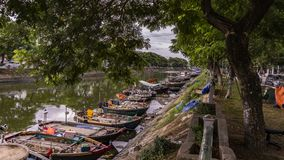 Colorful fisherman boats in the coast of Vietnam river, stock photography